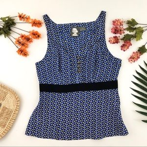 Anthropologie girls from savory blue tank blouse
